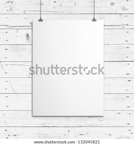 blank paper clips and wood background - stock photo