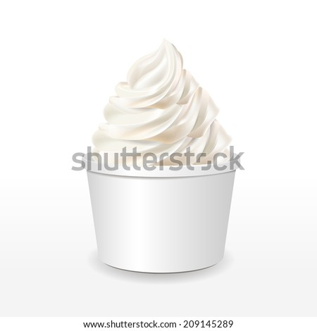 blank paper cup with milk ice cream isolated over white background - stock photo