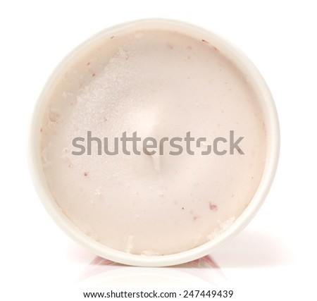 Blank Paper Cup With Vanilla Soft Ice Cream On White Background - stock photo
