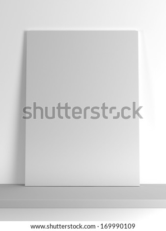 blank paper frame on the shelf - stock photo