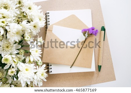 blank paper in brown envelope.letter and gift card concept