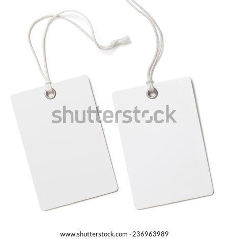 Blank paper label or cloth tag set isolated - stock photo