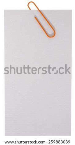 Blank paper label with staple - stock photo