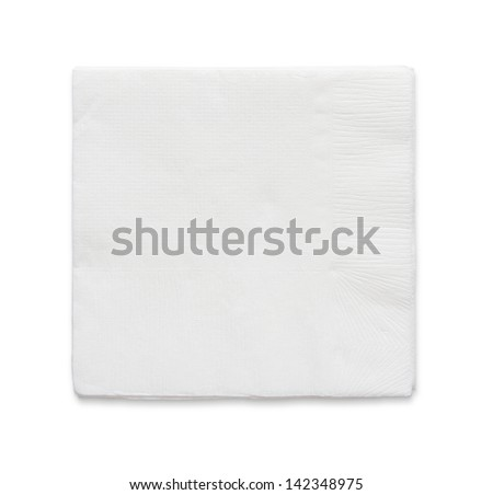 Blank paper napkin isolated on white background with copy space - stock photo