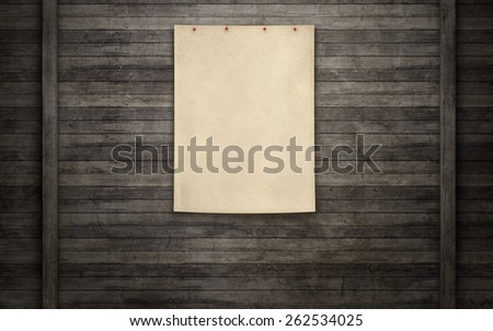 Blank paper note on wooden wall background, clipping path - stock photo