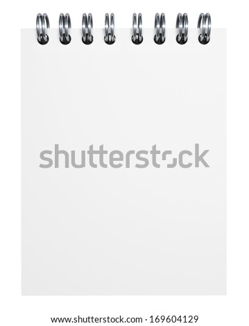 Blank paper notebook with empty space on page for your business advertising, creative web copy and messages. Isolated on white background. - stock photo