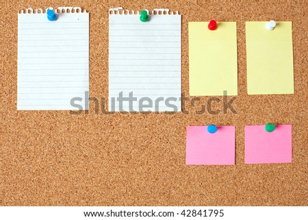 blank paper notes on cork board