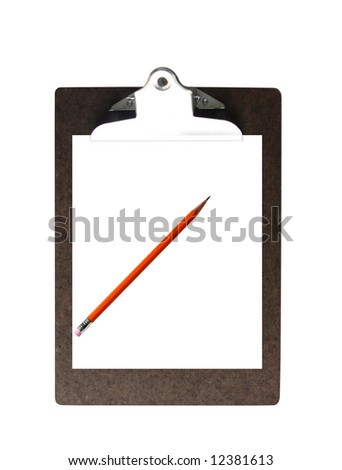 Blank paper on a clipboard and pencil