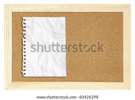 blank paper on cork board isolated - stock photo