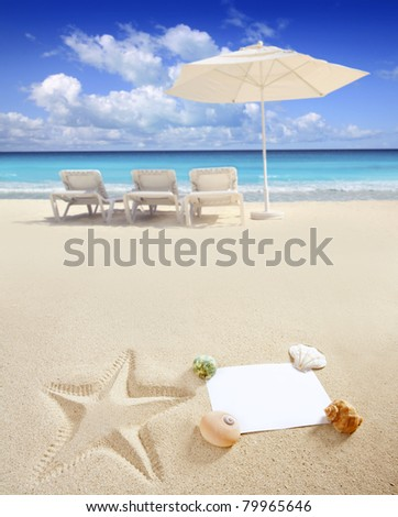 blank paper on white sand beach with shells and starfish print like a summer vacation concept [Photo Illustration] - stock photo