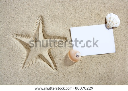 blank paper on white sand beach with shells and starfish print like a summer vacation concept - stock photo