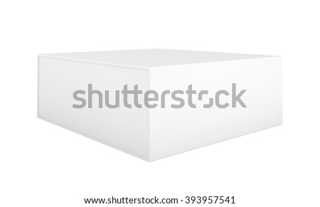 Blank paper or cardboard box template standing on white background