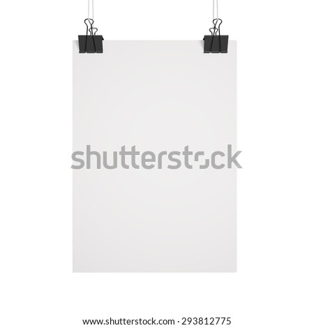 Blank paper poster on clips - stock photo