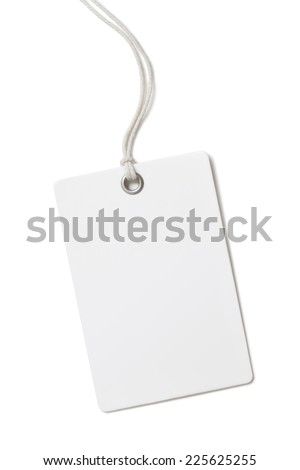 Blank paper price tag or label isolated - stock photo
