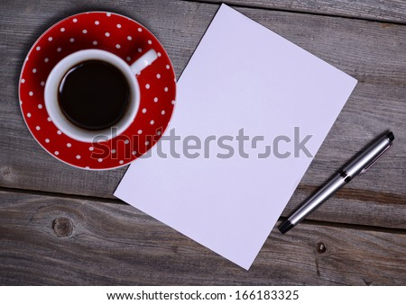 Blank Paper ready for your own text, Pen & Coffee - stock photo