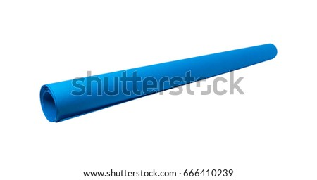 Blank paper roll on isolated white background. Empty blueprint roll of paper for your design. ( Clipping path or cut out object for montage )