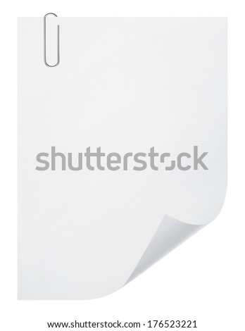 blank paper sheet and paper clip on white background