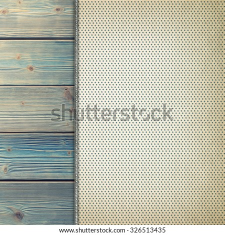 Blank paper sheet on old wood plank wall background - stock photo