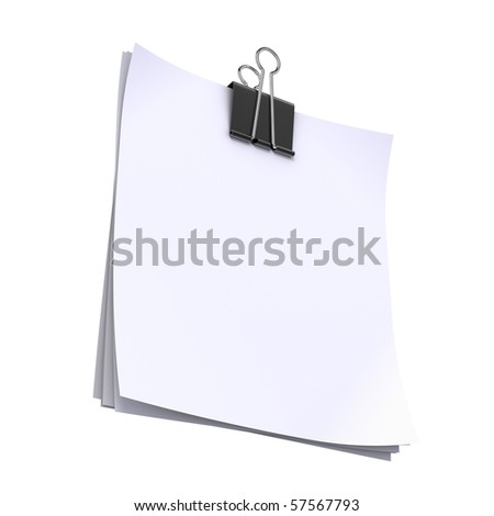 Blank paper sheets with paper clip