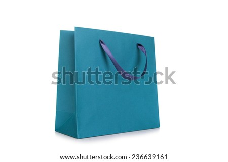 Blank Paper Shopping Bag - stock photo