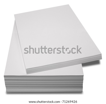 Blank Paper Stack with Path - stock photo