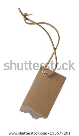 Blank paper tag isolated on white