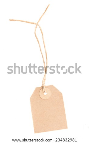 blank paper tag   isolated on white background - stock photo