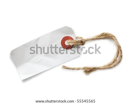 Blank paper tag with hemp string - stock photo