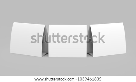 Blank paper tent template white tent cards set with empty space in 3d render & Blank White Paper Trifold Brochure Leaflet Stock Illustration ...