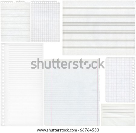 Blank paper textures for design, isolated - stock photo