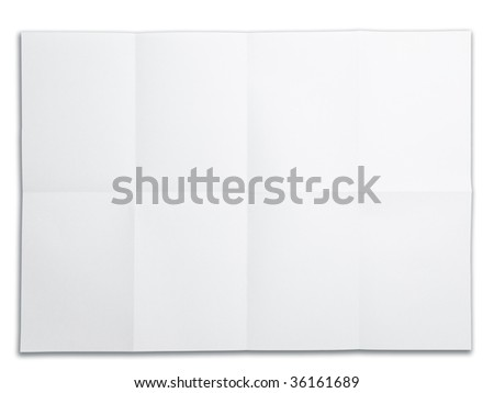 Blank paper with fold mark. isolated on white. Excellent for overlaying project drawings and plans - stock photo