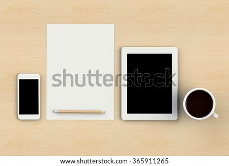 Blank paper with pencil, smart phone and coffee cup on wooden table