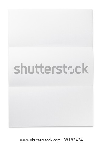 Blank paper with three fold mark. isolated on white. Excellent for overlaying letters and documents. - stock photo