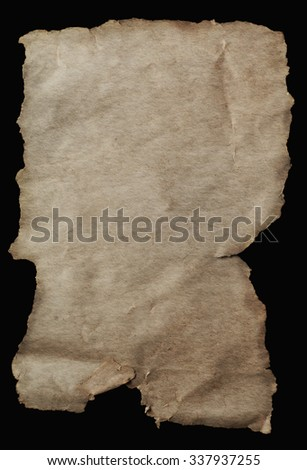 Blank paper with torn edges, aged and weathered for ancient parchment scroll effect. - stock photo