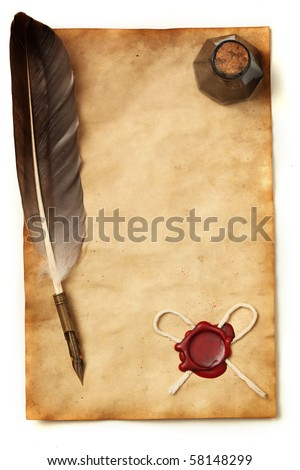 Blank paper with wax seal, quill & ink - stock photo
