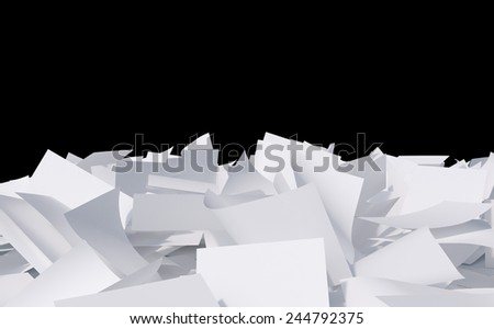 blank papers heap on a black background - stock photo