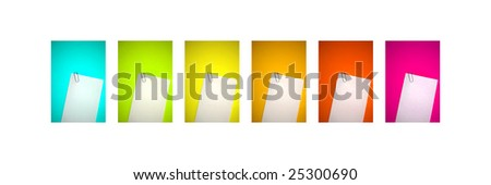 Blank papers on colorful backgrounds