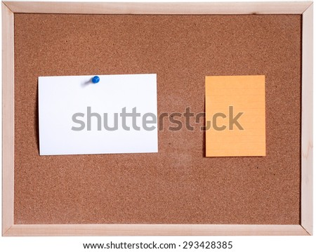 Blank papers pin up on cork board isolated on white background