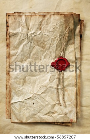 Blank papers with wax seal - stock photo