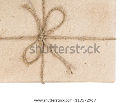 blank parcel corner with bow isolated on white