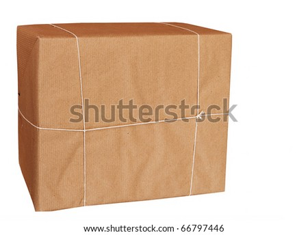 Blank parcel wrapped in brown paper and string - isolated