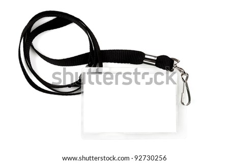 Blank pass or ID tag on a black lanyard, isolated on white. - stock photo