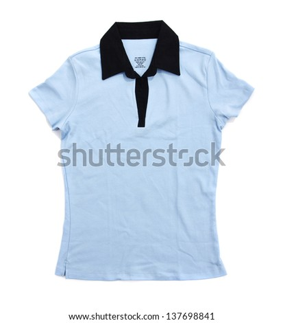 blank pastel blue and navy blue polo shirts. isolated on white background. Ready for your design or logo - stock photo