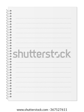 Blank Pastel Gray Notebook Paper with Dashed Lines and Spiral Wire Binding isolated on White Background Illustration