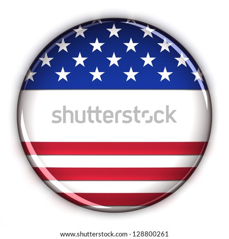 Blank patriotic election button over white background - stock photo