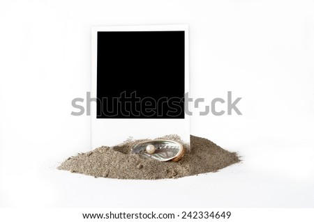 blank photo and pearl - stock photo