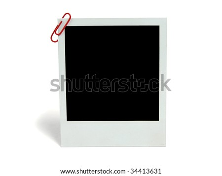 Blank photo card with paperclip - stock photo