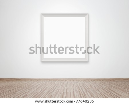 Blank photo frame at the wall with clipping path for the inside - stock photo