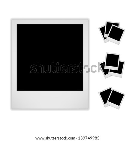 Blank Photo Frame. Isolated On White Background. Style. Raster Version - stock photo