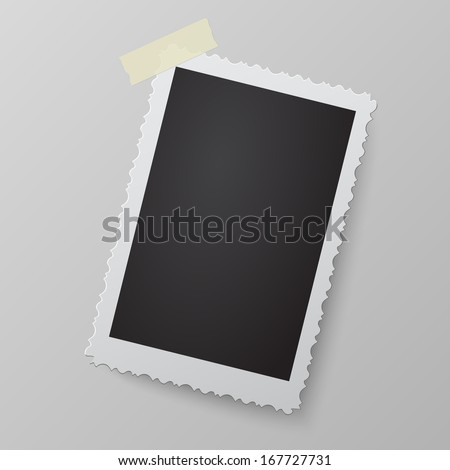 Blank photo frame looking like retro photograph on soft background. Raster version illustration. - stock photo